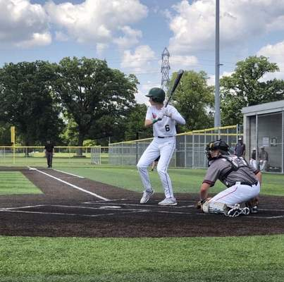 Carson Nutter of the 16U TinCaps bats with during a game this summer with no umpire behind home plate. (Courtesy: Mike Nutter)