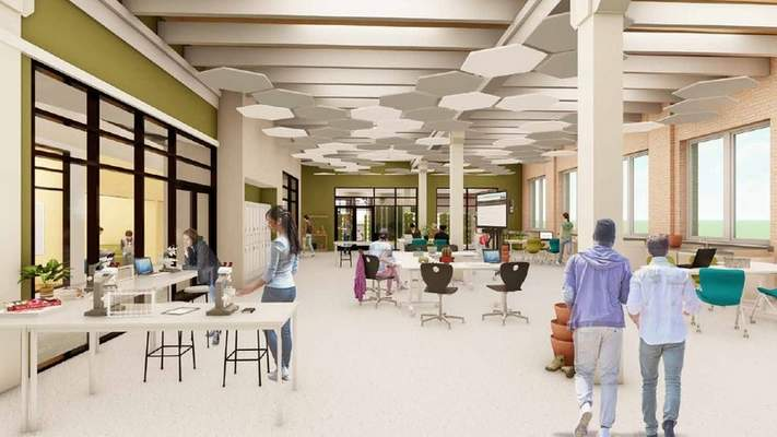 Courtesy An artist's rendering shows the proposed STEAM school at Electric Works.