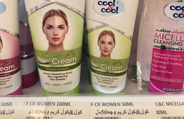 """Creams promising fairer and lighter skin are displayed on shelves in Dubai, United Arab Emirates. The rebranding of such products is unlikely to reverse prejudices around """"colorism,"""" the idea that fair skin is preferable."""