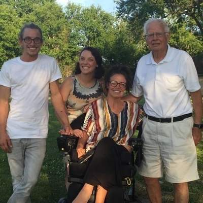 From left, Randy, Kaylee and Erica Predum visit their 90-year-old grandfather Ron Humphrey earlier this summer.
