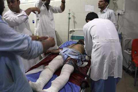 Afghanistan A wounded man receives treatment at a hospital after a suicide car bomb and multiple gunmen attack in the city of Jalalabad, east of Kabul, Afghanistan, Sunday, Aug. 2, 2020. (AP Photo) (STR)