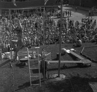 Aug. 28, 1947: Kids' Day in Portland included a circus complete with acrobat. (Journal Gazette file photo)