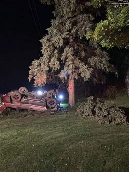Courtesy DeKalb County Sheriff's Department A Waterloo man and his 8-year-old son were injured in  crash after hitting a tree on DeKalb County Road 14 Friday night.