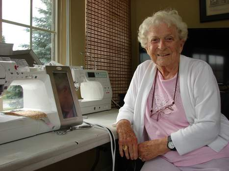 Photos by Terri Richardson | The Journal Gazette Betty Denny sits in front of her sewing machine in her home. The 101-year-old spends time sewing for various charities.