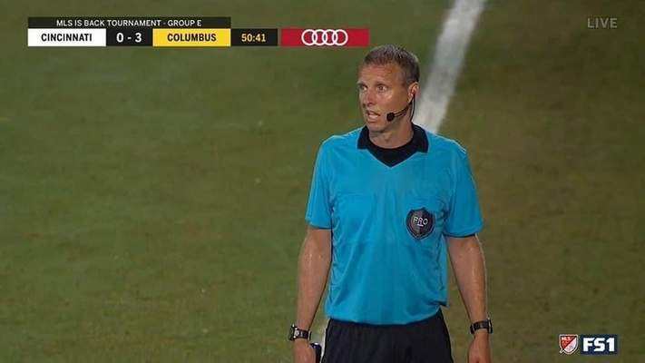 Courtesy Area referee Andrew Bigelow was an assistant referee during the MLS is Back tournament.
