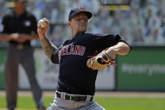 Indians White Sox Baseball Cleveland Indians starting pitcher Zach Plesac throws against the Chicago White Sox during the first inning of a baseball game in Chicago, Saturday, Aug. 8, 2020. (AP Photo/Nam Y. Huh) (Nam Y. Huh STF)