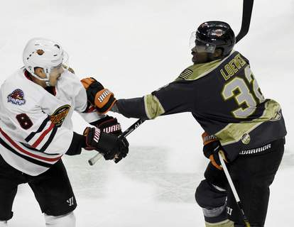 File  Jermaine Loewen, right, is one of six players to come to Fort Wayne through an affiliation with the Vegas Golden Knights. (Rachel Von Stroup   The Journal  Rachel Von Stroup   The Journal)