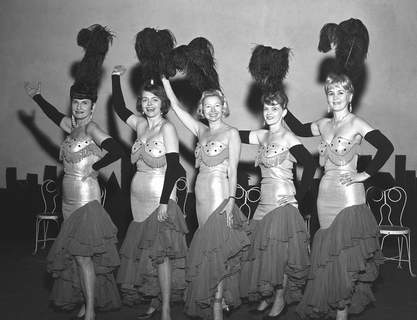 From left: Mrs. Alan Chambers, Mrs. Maxwell Smith, Mrs. Jerry Ress, Mrs. Haskel Tompkins and Mrs. Oscar Baldwin wear extravagant Las Vegas-type costumes for the Civic Guild Ya-Hoo Follies Revue which was opening Feb. 10, 1966, for a three-night run at Civic Theater. (Journal Gazette file photo)