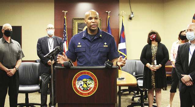 Katie Fyfe | The Journal Gazette U.S. Surgeon General Dr. Jerome Adams talks about local and national coronavirus efforts Friday at Citizens Square.
