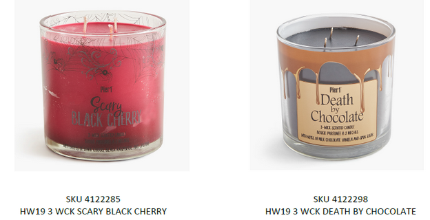 Recalled Pier 1 Imports Three Wick candles with respective SKU numbers