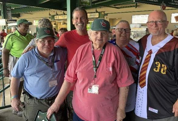 Courtesy Jim Garigen TinCaps fan Jim Garigen, back row second from left, joins a group of fans at a TinCaps game at Parkview Field.