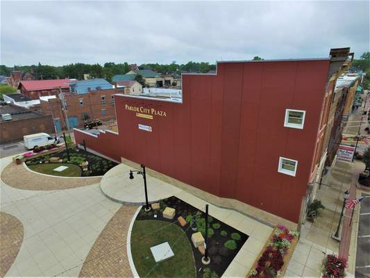 Courtesy This 3,780-square-foot red wall in Bluffton's Parlor City Plaza will be part of Mural Fest.