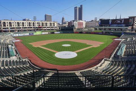Virus Outbreak A Tough Call Baseball FILE - In this April 8, 2020, file photo, an empty Parkview Field minor league baseball stadium is viewed in downtown Fort Wayne, Ind. Minor league umpires are out of jobs so far and maybe all year with no minor league seasons due to the coronavirus pandemic. (Mike Moore/The Journal-Gazette via AP, File) (Mike Moore MBO)