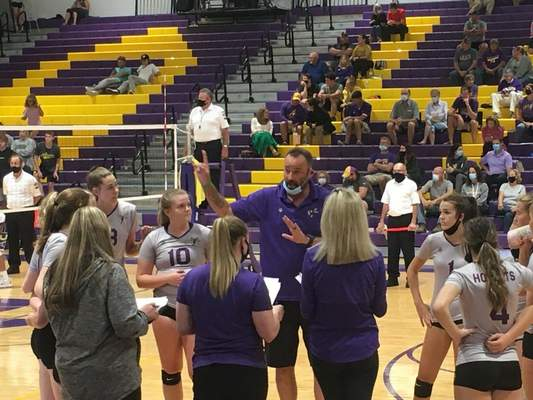 Victoria Jacobsen   The Journal Gazette  Angola coach Lloy Ball instructs his players in a timeout in Wednesday's match against Concordia.