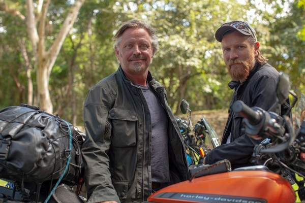 """Apple TV+ Ewan McGregor and Charley Boorman take a road trip on motorbikes in """"Long Way Up."""""""