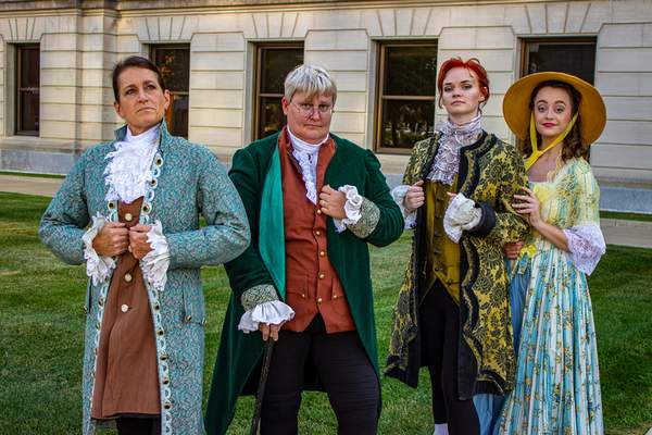 """Courtesy From left: Amy Ross plays John Adams, Pam Karkosky plays Benjamin Franklin, Tia Hackbush plays Thomas Jefferson and Diana Marie Rose plays Martha Jefferson in Civic Theatre's all-female cast of """"1776: The Musical."""""""