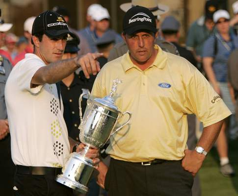Associated Press  Champion Geoff Ogilvy, left, and Phil Mickelson talk after the 2006 U.S. Open at  Winged Foot Golf Club. Of the five U.S. Opens at Winged Foot, only two players ever finished under par.