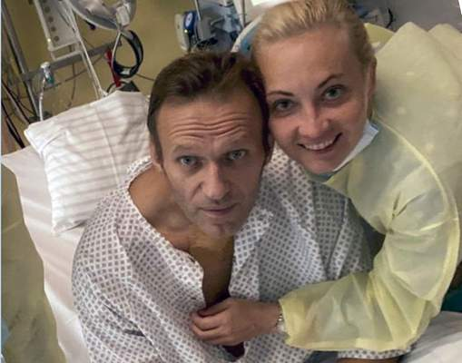 Associated Press This photo published by Russian opposition leader Alexei Navalny on his Instagram account Tuesday shows himself and his wife, Yulia, posing for a photo in a hospital in Berlin.