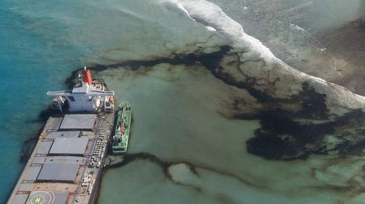 Associated Press This Aug.11 photo shows oil leaking from the MV Wa-kashio, a bulk carrier ship that ran aground on a coral reef off the southeast coast of Mauritius, an island nation in the Indian Ocean.