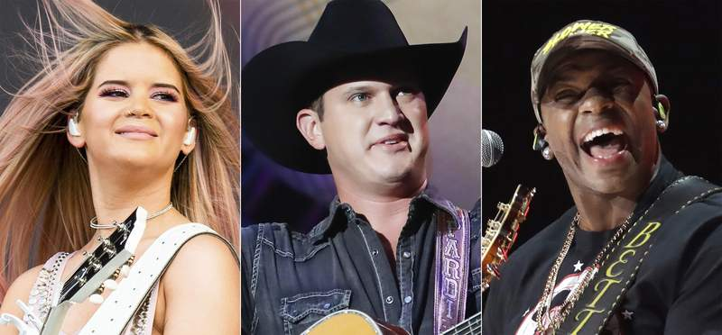 This combination photo shows country music artists, from left, Maren Morris, Jon Pardi and Jimmie Allen, who will perform at the 55th annual ACM Awards on Wednesday. (AP Photo)
