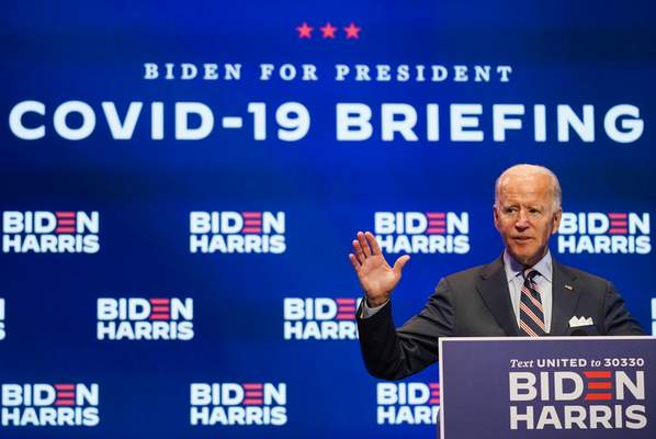 Democratic presidential candidate former Vice President Joe Biden speaks after participating in a coronavirus vaccine briefing with public health experts, Wednesday, Sept. 16, 2020, in Wilmington, Del. (AP Photo/Patrick Semansky)