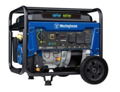 Recalled Westinghouse WGen5300DFv dual fuel portable generator.