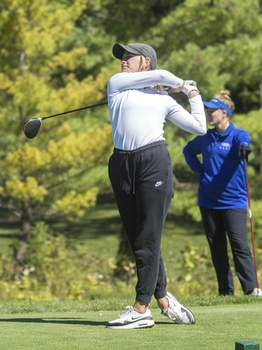 Michelle Davies   The Journal Gazette Columbia City's Abby Pequignot tees off on hole three at Cobblestone Golf Course during Friday's East Noble Girls Golf Sectional.