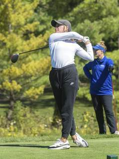 Michelle Davies | The Journal Gazette Columbia City's Abby Pequignot tees off on hole three at Cobblestone Golf Course during Friday's East Noble Girls Golf Sectional.