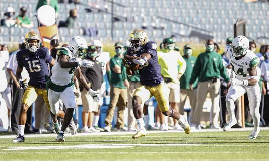 Courtesy | Atlantic Coast Conference  Notre Dame running back C'Bo Flemister ran 13 times for 127 yards, his first career 100-yard performance, in a 52-0 win over South Florida.
