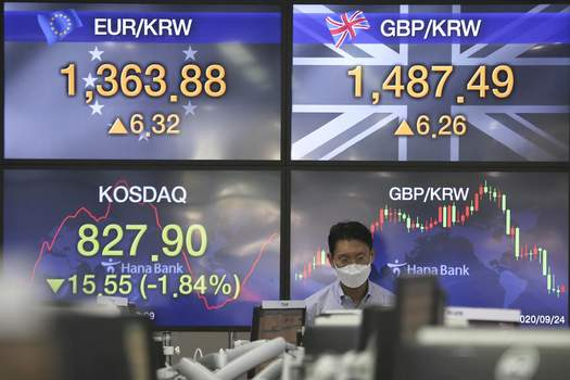 South Korea Financial Markets A currency trader watches monitors at the foreign exchange dealing room of the KEB Hana Bank headquarters in Seoul, South Korea, Thursday, Sept. 24, 2020. (AP Photo/Ahn Young-joon) (Ahn Young-joon