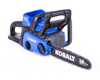 Recalled Kobalt 40-volt Lithium Ion 12-inch cordless electric chainsaw.