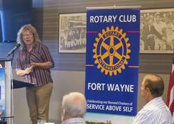 Michelle Davies | The Journal Gazette Stephanie Jentgen Mack, head of communications at GM's local assembly plant, shares the plant's COVID-19 strategy with Rotary Club members Monday at Parkview Field.