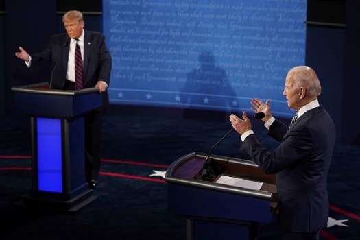 Election 2020 Debate President Donald Trump and Democratic presidential candidate former Vice President Joe Biden exchange points during the first presidential debate Tuesday, Sept. 29, 2020, at Case Western University and Cleveland Clinic, in Cleveland, Ohio. (AP Photo/Morry Gash, Pool) (Morry GashPOOL)
