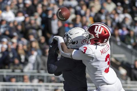 Indiana Penn St Football Associated Press Indiana defensive back Tiawan Mullen, right, and the rest of the defensive backfield is working to improve on an impressive 2019 season. (Barry ReegerFRE)