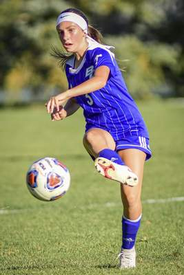 Mike Moore | The Journal Gazette Blackhawk forward Olivia VonGunten kicks the ball in the first half against Canterbury at Hancock Field on Thursday.