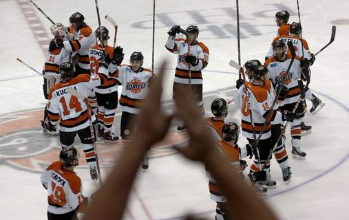 File  The Komets and their fans celebrate an overtime winat Memorial Coliseum.   (Samuel Hoffman)