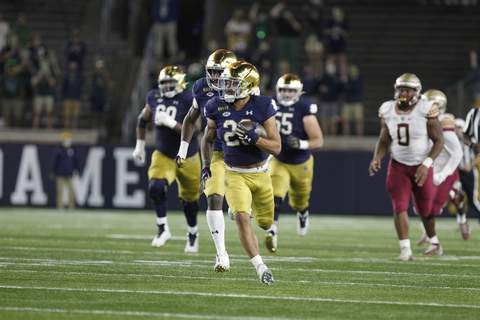 Atlantic Coast Conference Notre Dame's Kyren Williams rushes in the first half Saturday night against Florida State. (Notre Dame Athletics)
