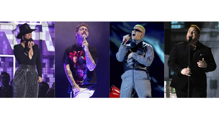 This combination photo shows Alicia Keys hosting the 61st annual Grammy Awards in Los Angeles on Feb. 10, 2019, from left, Post Malone performing in Philadelphia on Feb. 21, 2020, Bad Bunny performing at the Billboard Latin Music Awards in Las Vegas on April 25, 2019 and Luke Combs performing at the 54th annual Academy of Country Music Awards in Las Vegas on April 7, 2019. (AP Photo)