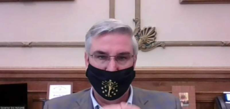 Governor Holcomb addresses reporter questions during a weekly video briefing on Wednesday, Oct. 15, 2020.