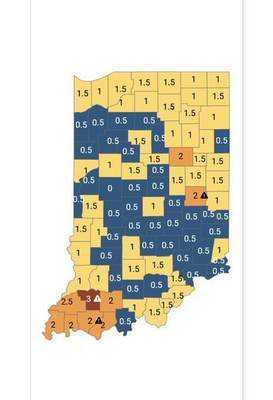 This is how Indiana counties were coded last week.