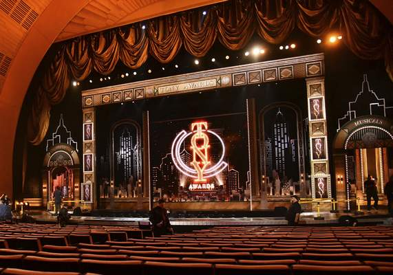 FILE - This JuNe 9, 2019 photo shows a view of the stage prior to the start of the 73rd annual Tony Awards in New York. (Photo by Charles Sykes/Invision/AP, File)