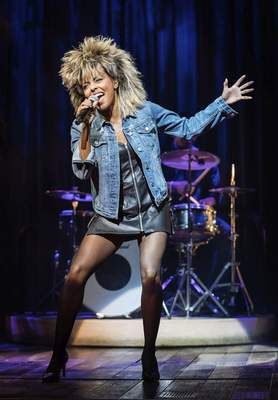This image released by Polk & Co. shows Adrienne Warren during a performance of Tina: The Tina Turner Musical. (Manuel Harlan/Polk & Co. via AP)
