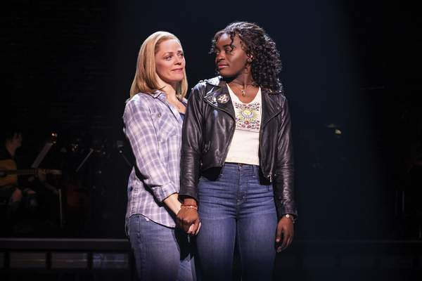This image released by Vivacity Media Group shows Elizabeth Stanley, left, and Celia Rose Gooding during a performance of Jagged Little Pill. (Matthew Murphy/Vivacity Media Group via AP)