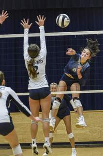 Photos by Mike Moore   The Journal Gazette Bishop Dwenger junior Eva Hudson spikes the ball during Thursday's sectional match against Woodlan. The host Saints won in three sets to advance to Saturday's semifinals.