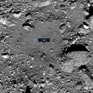 Space Asteroid Grab NASA An outline of the Osiris-Rex spacecraft is placed at the center of this undated image of the asteroid Bennu to illustrate the scale of the site from which the spacecraft will try to take sample. (HOGP)