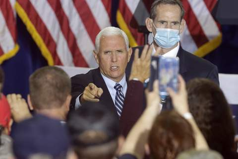 Election 2020 Pence Associated Press Vice President Mike Pence attends a campaign rally Monday in New Cumberland, Pa.Pence is scheduled to stop in Fort Wayne on Thursday. (Jacqueline LarmaSTF)