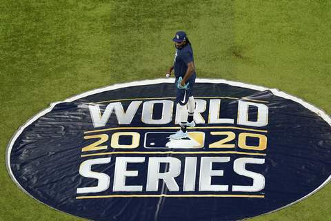 World Series Baseball Tampa Bay Rays relief pitcher Diego Castillo (63) stands on the pitcher's mound at Globe Life Field as the team prepares for the baseball World Series against the Los Angeles Dodgers, in Arlington, Texas, Wednesday, Oct. 14, 2020. (AP Photo/Eric Gay) (Eric Gay