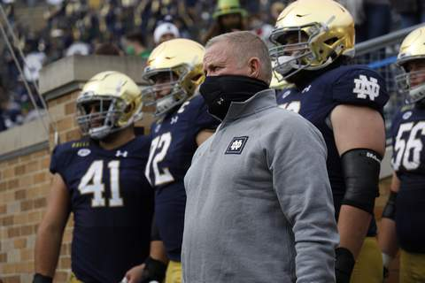 Brian Kelly Atlantic Coast Conference Notre Dame coach Brian Kelly and the Irish are going on the road for the first time this week, traveling to Pittsburgh to play the Panthers. (Notre Dame Athletics)