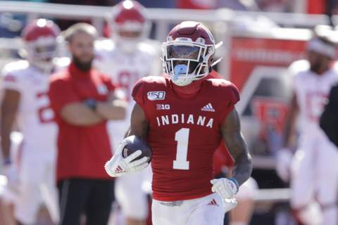 Indiana Preview Football In this photo taken on Saturday, Oct. 12, 2019, Indiana wide receiver Whop Philyor (1) runs during the first half of an NCAA college football game against Rutgers, in Bloomington, Ind. The Hoosiers could be headed to a second straight bowl game despite a brutal schedule that begins with Penn State visiting Bloomington, Indiana, on Oct. 24.(AP Photo/Darron Cummings) (Darron CummingsSTF)