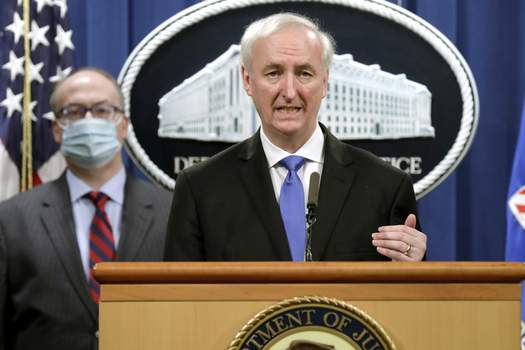 US Opioid Crisis Purdue Pharma Associated Press Deputy Attorney General Jeffrey A. Rosen holds a news conference to announce the results of the global resolution of criminal and civil investigations with an opioid manufacturer Wednesday.  (Yuri GripasPOOL)